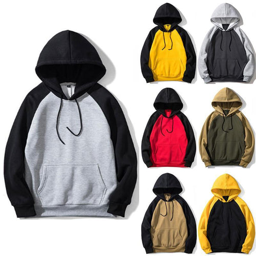 Plus Velvet Multi-Color Raglan Sleeves Couple Hoodies