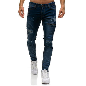 Broken Decorative Zipper 3 Color Jeans