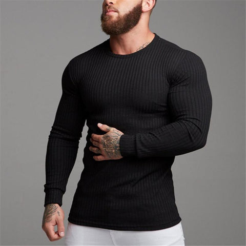Fitness Leisure Pure Color Knitting Long Sleeves T-Shirt