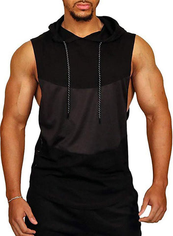 Grid Colorblock Hooded Vest Sports Breathable T-Shirt