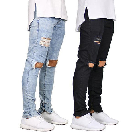Men's Hip Hop Solid Color Ripped Jeans