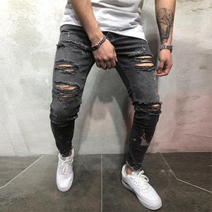 Fashion Slim Street Ripped Ankle-Tied Jeans