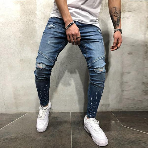 Fashion Slim Street Washed Ripped Jeans