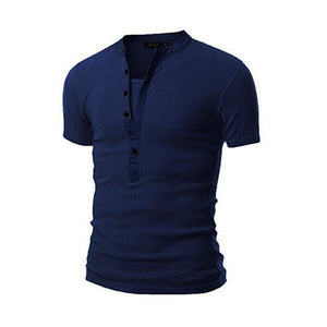 Fashion Solid Color V-Neck Button Short-Sleeved T-Shirt