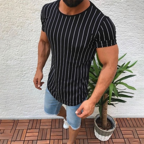 Men's Fashion Minimalist Striped Short-Sleeved T-Shirt