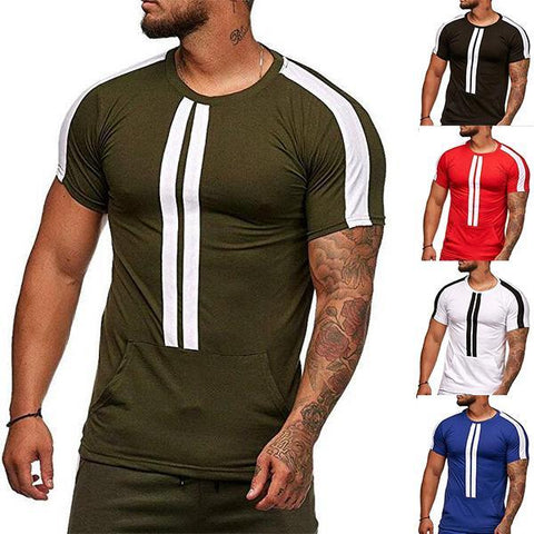 Fashion Striped Tight-Fitting Short-Sleeved T-Shirt