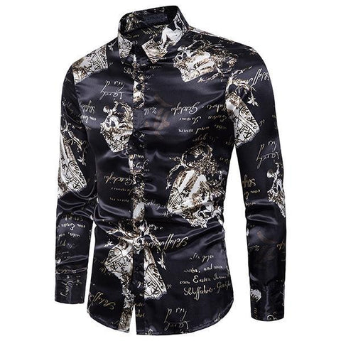 Fashion Men's Vintage Long-Sleeved Slim Shirt