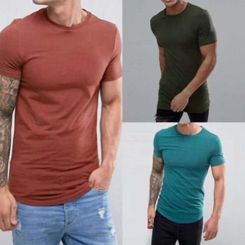 2019 Casual Slim Round Neck Solid Color Short-Sleeved T-Shirt