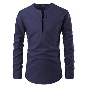 Men's Fashion Solid Color V-Neck Long-Sleeved T-Shirt