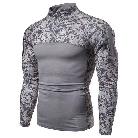 Men's Military Style Camouflage Stand Collar T-Shirt