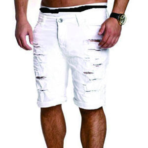 Men's Hole Slim Washed Denim Shorts