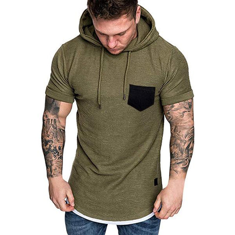 Men's Fashion Solid Color Hooded Short-Sleeved T-Shirt