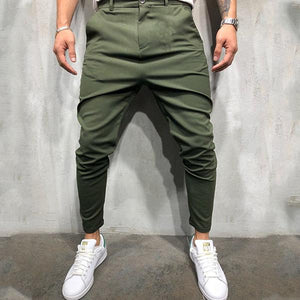 Gentleman Fashion Solid Color Slim Multi-Color Pants