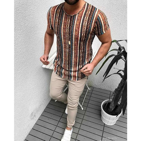 Men's Fashion Diverse Print Short Sleeve T-Shirt