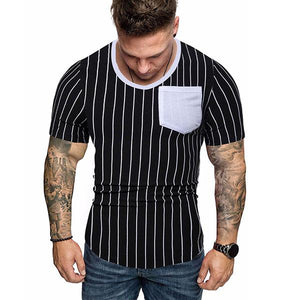 Men's Fashion Colorblock Striped Short-Sleeved T-Shirt