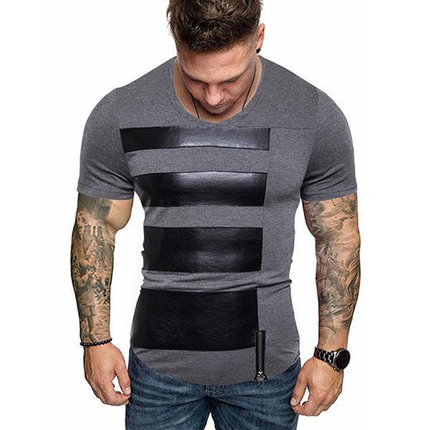 Men's Fashion Leather Striped Short Sleeve T-Shirt