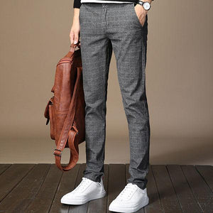 Gentleman Fashion Plaid Slim Pants