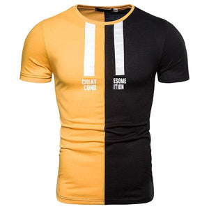 Men's Fashion Colorblock Printed Short-Sleeved T-Shirt