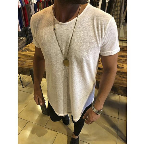 Men's Fashion Solid Color Sweat-Absorbent Short-Sleeved T-Shirt