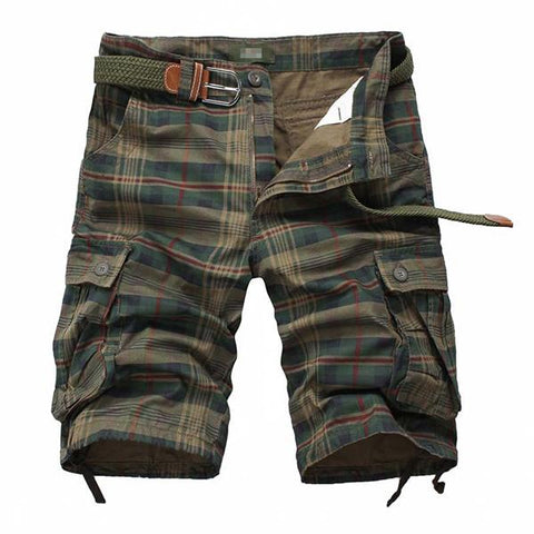 Men's Cotton Multi-Pocket Plaid Casual Shorts