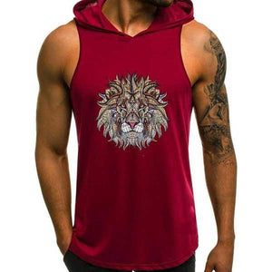 Men's Casual Lion Printed Hooded Vest