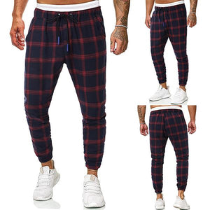Fashion Contrast Color Plaid Tether Casual Pants