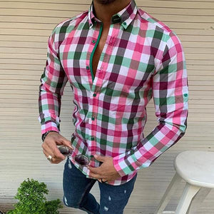 Men's Single-Breasted Plaid Shirt