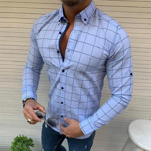 Men's Long-Sleeved Plaid Casual Shirts