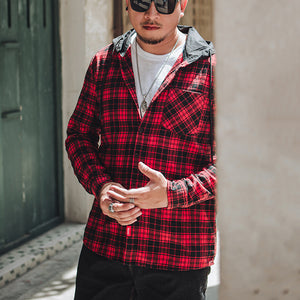 Men'S Casual Single Row Buckle Plaid Shirt