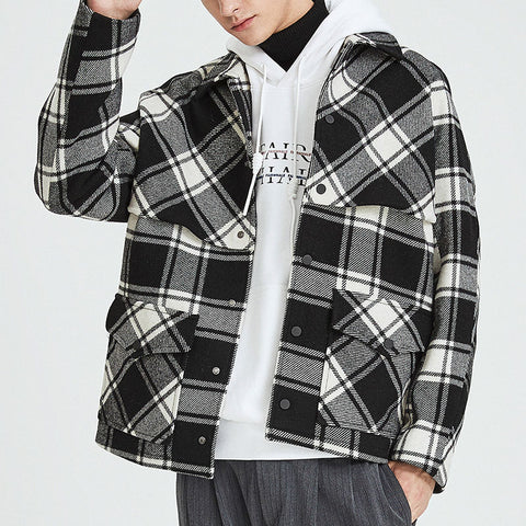 Casual Plaid Single Breasted Pocket Men's Jacket