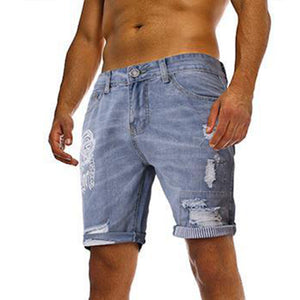 Men's Fashion Printed Ripped Denim Shorts