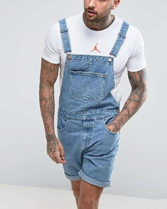 Men's Denim Shorts Hole Vintage   Piece Overalls