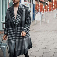 Men's Plaid Lapel Long Jacket