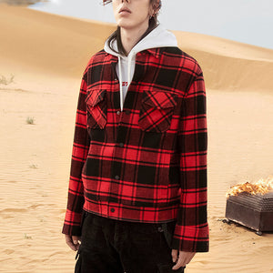 Casual Plaid Single Breasted Covered Pocket Men's Jacket