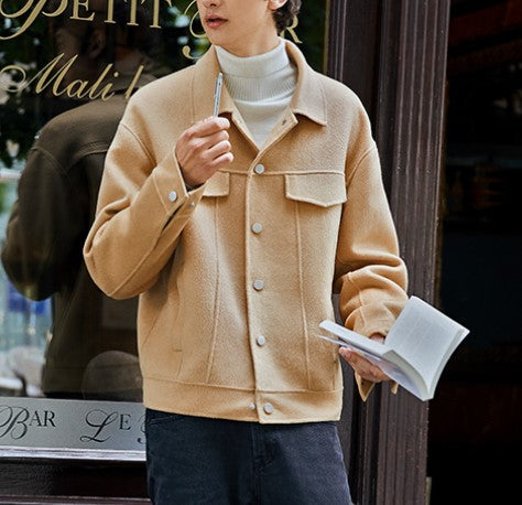 Men's Casual Turndown Collar Long Sleeve Pure Color Jacket