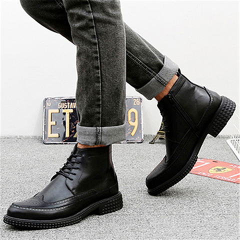Men's British style platform wear Martin boots