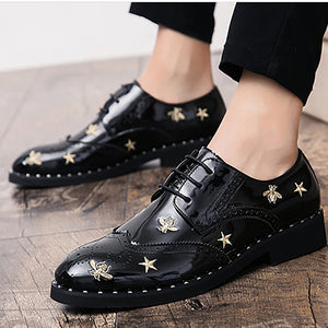 Embroidery broken flowers polished bright leather belt casual shoes