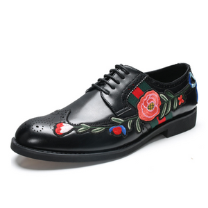 Men's casual embroidered Brock leather shoes