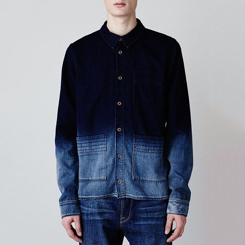 Fashion Men's Gradient Denim Shirt