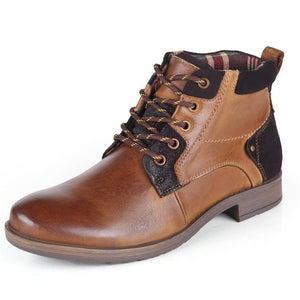 Men's leather casual plus velvet leather boots