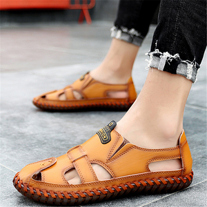 Men's hollow leather breathable casual sandals