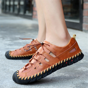 Cutout breathable leather casual sandals