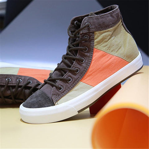 Colorblock canvas high-top shoes