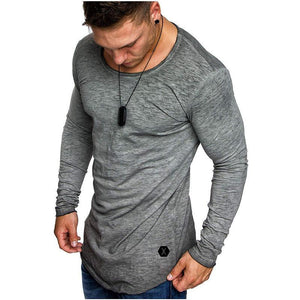 Men's new hot summer stitching round neck bottoming T-shirt