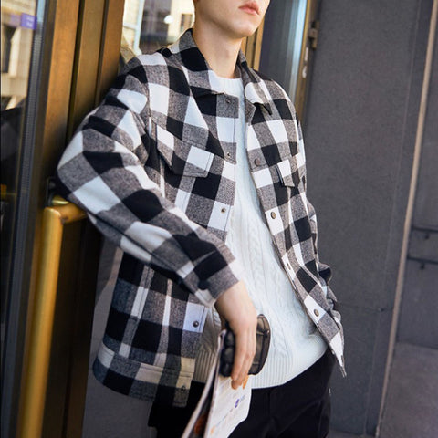 Casual Folded Collar Plaid With Cover Pocket Men's Jacket