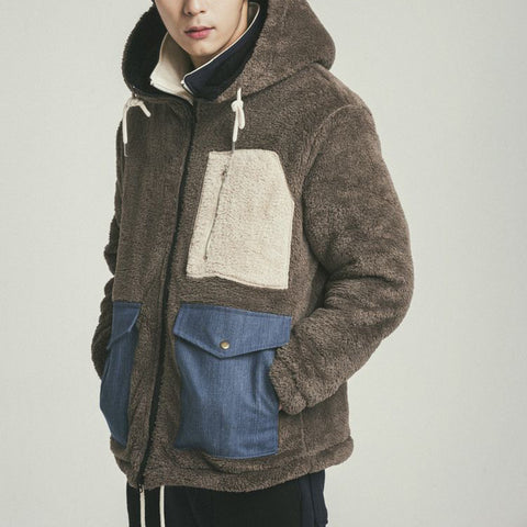 Casual Color Matching Drawstring Hooded Plush Men's Jacket