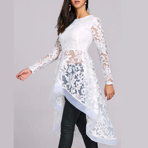 White Lace Pattern Of Irregular Shirt Dress