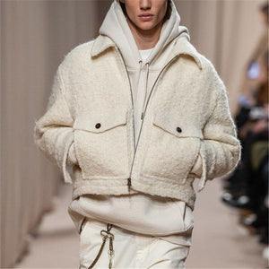 Fashion men's solid color plush coat