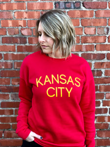 Kansas City Sweatshirt - Red // Yellow Font