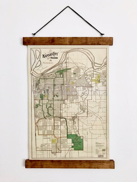 Hanging Framed Canvas Map // Year 1910 // 11.75x19 inches